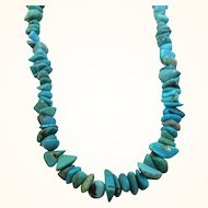 Vintage Genuine Blue Stone Nuggets Beaded Necklace