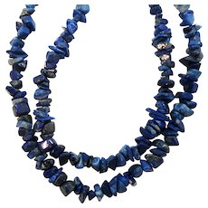 Double Strand Genuine Lapis Stone Nugget Beaded Choker Necklace