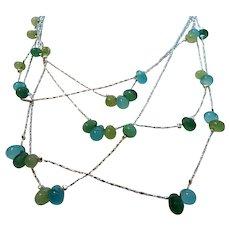 Vintage Dainty Silvertone Layered Chain Seafoam Green Glass Beaded Choker Necklace