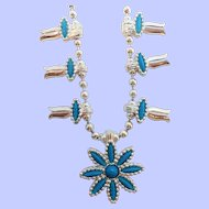Vintage HMS Madeira Creations Silvertone Blue Cabs Squash Blossom Style Necklace