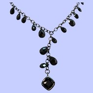 Vintage Carolee Black Faceted Glass Y Shaped Drop Necklace