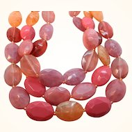 Vintage Fun Three Strand Pink Orange Lucite Beaded Necklace