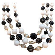 Vintage Triple Strand Black White Clear Beaded Necklace