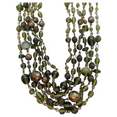 Vintage Six Strand Olive Green Glass & Lucite Beaded Necklace