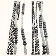 Vintage Long Five Strand Glass Beaded Layered Statement Necklace