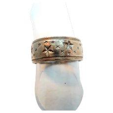 Vintage Sterling Silver Cigar Band Ring Stars Design  Size 7