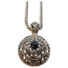 Vintage Dimensional Ornate Silvertone Metal Pendant Necklace