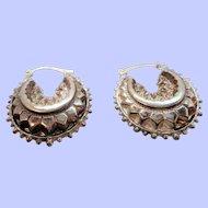 Vintage Unusual Textured Puffed Hoop Sterling Silver Hallmarked Pierced Earrings