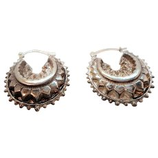 Vintage Unusual Textured Puffed Hoop Sterling Silver Hallmarked Pierced Earrings
