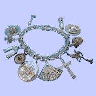 Retro Large Sterling Silver Loaded Canadian Charm Bracelet