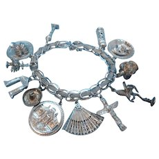 Retro Large Sterling Silver Loaded Canadian Charm Bracelet
