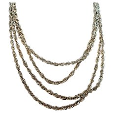 a067478ae Vintage Long Sterling Silver Twisted Single Strand Chain Necklace Italy