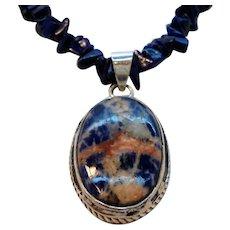Vintage Sterling Silver Genuine Lapis Lazuli Nuggets Pendant Necklace