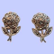 Vintage Roses Sterling Silver Genuine Marcasite Stones Screw On Earrings