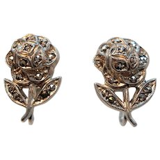 Vintage Roses Sterling Silver Genuine Marcasite Stones Screw On Earrings