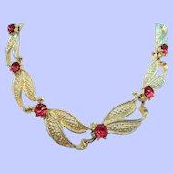 Vintage Textured Goldtone Orange Rhinestone Necklace