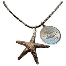 Vintage Sterling Silver Starfish Pendant Gemini Charm Necklace
