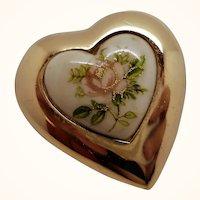 Vintage Dorlan Applique Flowers Goldtone Metal Heart Brooch