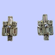 Vintage Clear Rhinestone Sterling Silver Screw On Earrings