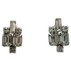 Vintage Clear Rhinestone Sterling Silver Screw On Earrings