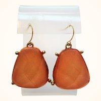 Vintage Large Goldtone Faceted Orange Lucite Pierced Dangle Earrings