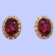 Vintage Camrose Kross Oval Shaped Red Pierced Earrings  Mint in Box