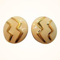 Monet Creme Enamel Zig Zag Designs Goldtone Metal Clip on Earrings