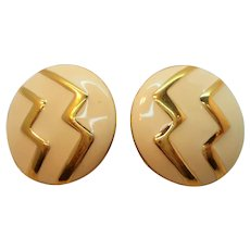Monet Creme Enamel Zig Zag Designs Goldtone Metal Clip on Earrings