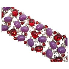 Scaasi Purple Red Rhinestones Silvertone Runway Statement Bracelet