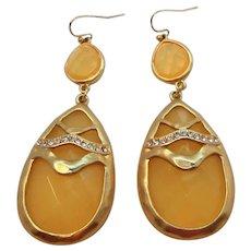 Large Lemon Custard Lucite Rhinestone Dangle Pierced Earrings