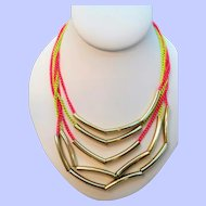 Multi Strand  Neon Pink Yellow Chains Goldotne Metal Cylinder Beaded Necklace