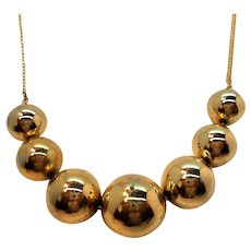 Shiny Goldtone Metal Graduated Round Beaded Necklace