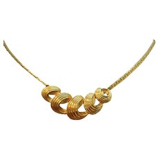 Textured Swirled Goldtone Metal Necklace