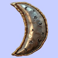 Large Silvertone Goldtone Crescent Moon Brooch Signed J J