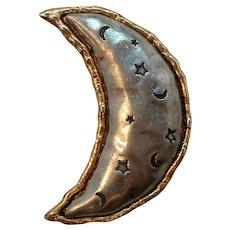 Large Silvertone Goldtone Crescent Moon Brooch Signed J J