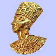 Avon Egyptian Nefertiti Textured Goldtone Metal Brooch Pendant