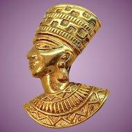 Avon Egyptian Nefertiti Textured Goldtone Metal Brooch Pendant