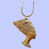 Egyptian Nefertiti Textured Goldtone Metal Pendant Necklace