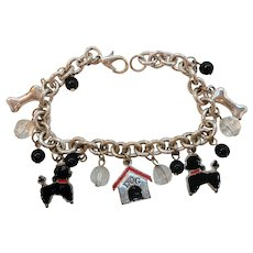 Poodle Dog Theme Figural Dangle Silvertone Metal Charm Bracelet