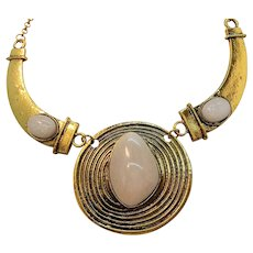 Large Goldtone Metal Statement Necklace White Lucite Cabochon Stones