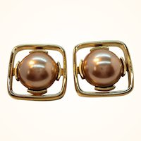 Large Monet Square Goldtone Champagne Imitation Pearl Clip On Earrings
