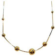 Dainty Shiny Goldtone Metal Beaded Choker Necklace