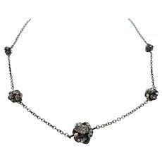 Dainty Clear Rhinestone Beads Silvertone Metal Necklace