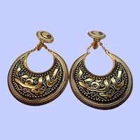 Large Goldtone Metal Damascene Dangle Hoop Clip On Earrings