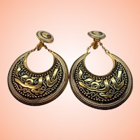 Large Goldtone Metal Damascene Dangle Hoop Clip On Earrings