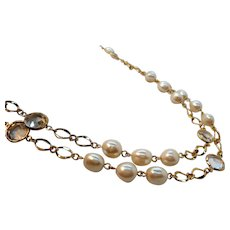 Long Single Strand Imitation Pearls Clear Glass Goldtone Metal Necklace