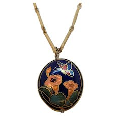 Butterfly Flowers Enameled Cloisonne Pendant Necklace