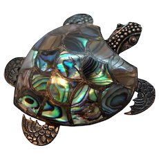 Dimensional Sterling Silver Abalone Shell Sea Turtle Brooch