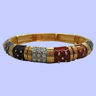 Joan Rivers Glossy Enameled Rhinestones Goldtone Stretchy Bracelet