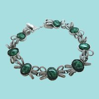 Sterling Silver Dimensional Filigree Bracelet Green Glass Stones
